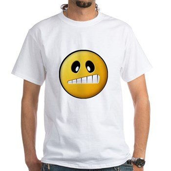 Confused Smiley White T-Shirt