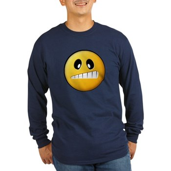 Confused Smiley Long Sleeve Dark T-Shirt