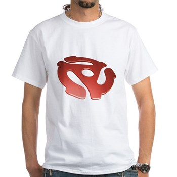 Red 3D 45 RPM Adapter White T-Shirt