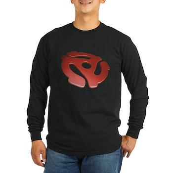 Red 3D 45 RPM Adapter Long Sleeve Dark T-Shirt