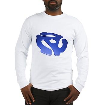 Blue 3D 45 RPM Adapter Long Sleeve T-Shirt