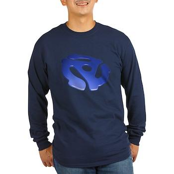 Blue 3D 45 RPM Adapter Long Sleeve Dark T-Shirt