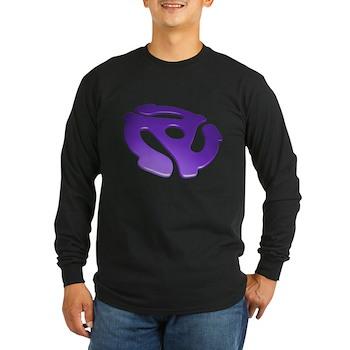 Purple 3D 45 RPM Adapter Long Sleeve Dark T-Shirt