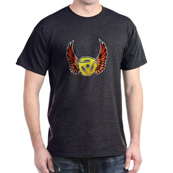 Red Winged 45 RPM Adapter Dark T-Shirt