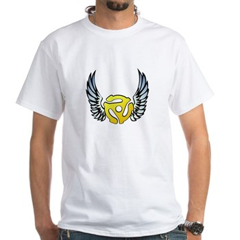 Blue Winged 45 RPM Adapter White T-Shirt