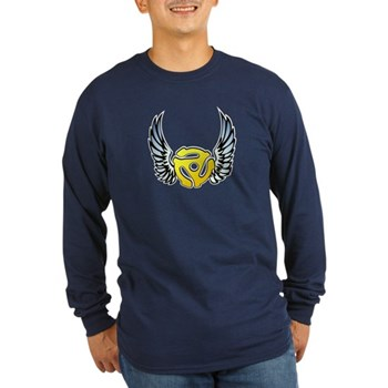 Blue Winged 45 RPM Adapter Long Sleeve Dark T-Shir