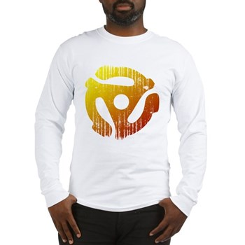 Distressed 45 RPM Adapter Long Sleeve T-Shirt