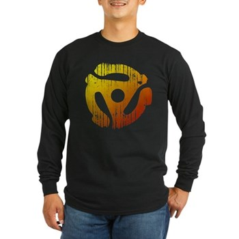 Distressed 45 RPM Adapter Long Sleeve Dark T-Shirt