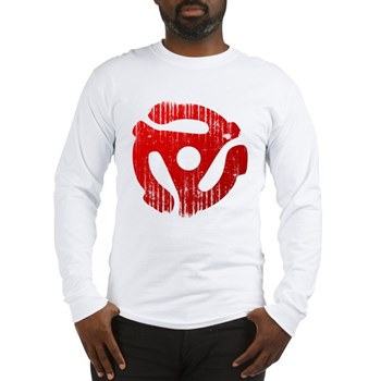 Distressed Red 45 RPM Adapter Long Sleeve T-Shirt