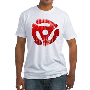 Distressed Red 45 RPM Adapter Fitted T-Shirt