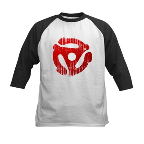 Distressed Red 45 RPM Adapter Kids Baseball Jersey