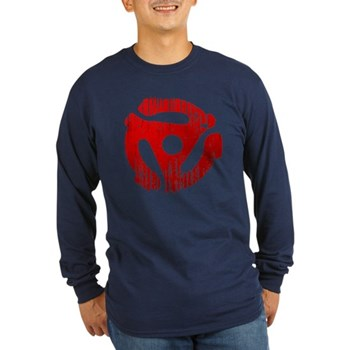Distressed Red 45 RPM Adapter Long Sleeve Dark T-S