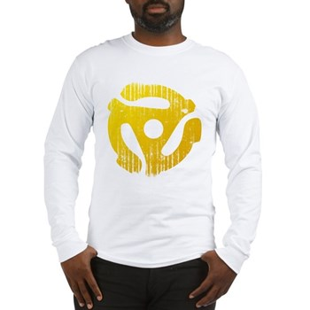 Distressed Yellow 45 RPM Adapter Long Sleeve T-Shi