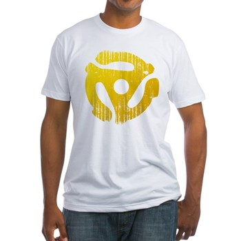 Distressed Yellow 45 RPM Adapter Fitted T-Shirt