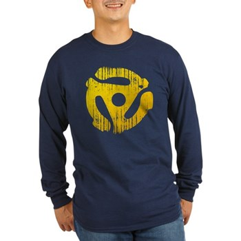 Distressed Yellow 45 RPM Adapter Long Sleeve Dark
