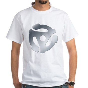 Silver 45 RPM Adapter White T-Shirt