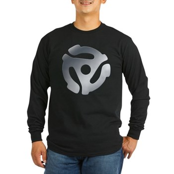 Silver 45 RPM Adapter Long Sleeve Dark T-Shirt