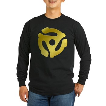 Gold 45 RPM Adapter Long Sleeve Dark T-Shirt