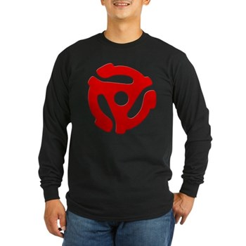 Red 45 RPM Adapter Long Sleeve Dark T-Shirt