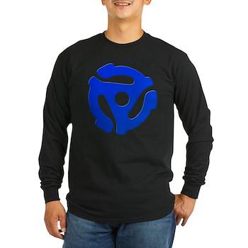 Blue 45 RPM Adapter Long Sleeve Dark T-Shirt