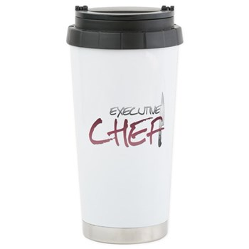 Red Executive Chef Stainless Steel Travel Mug