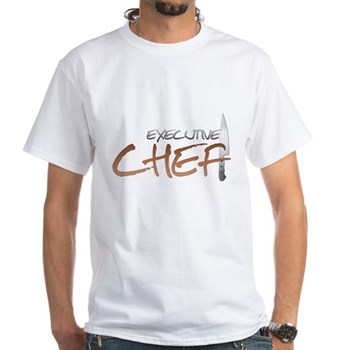 Orange Executive Chef White T-Shirt