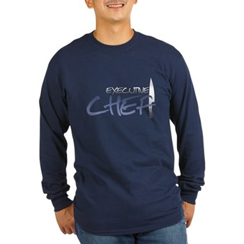 Blue Executive Chef Long Sleeve Dark T-Shirt
