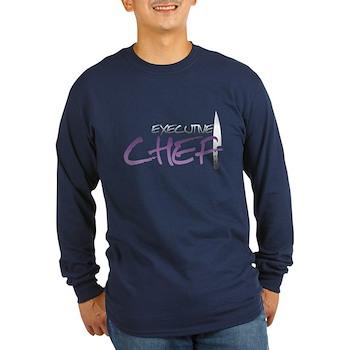 Purple Executive Chef Long Sleeve Dark T-Shirt