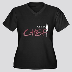 Red Sous Chef Women's Plus Size V-Neck Dark T-Shir