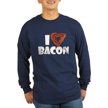 I Heart Bacon Long Sleeve Dark T-Shirt