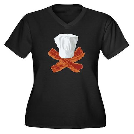 Bacon Chef Women's Plus Size V-Neck Dark T-Shirt