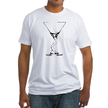 Bent Martini Glass Fitted T-Shirt