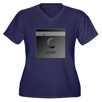 Carbon (C) Women's Plus Size V-Neck Dark T-Shirt