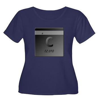 Carbon (C) Women's Plus Size Scoop Neck Dark T-Shi