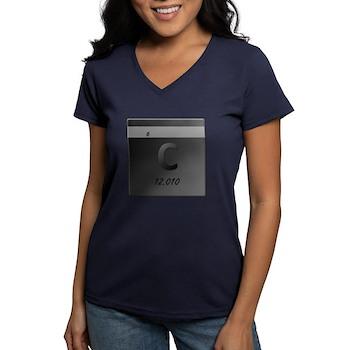 Carbon (C) Women's V-Neck Dark T-Shirt