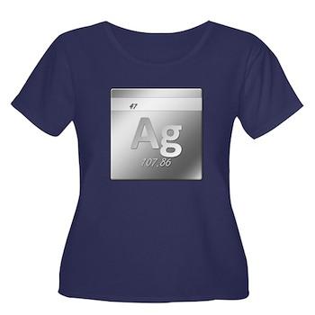 Silver (Ag) Women's Plus Size Scoop Neck Dark T-Sh