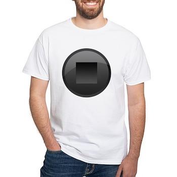 Black Stop Button White T-Shirt