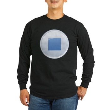 Stop Button Long Sleeve Dark T-Shirt