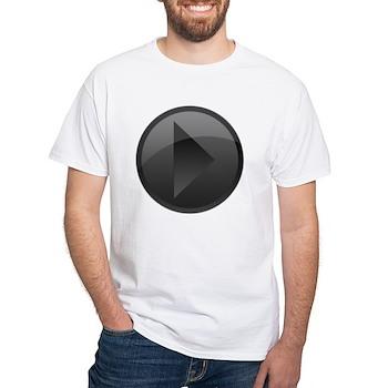 Black Play Button White T-Shirt