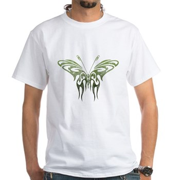 Green Tribal Butterfly Tattoo White T-Shirt