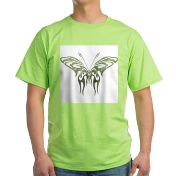 Green Tribal Butterfly Tattoo Light T-Shirt