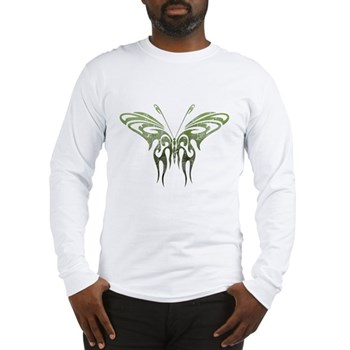 Green Tribal Butterfly Tattoo Long Sleeve T-Shirt