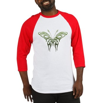 Green Tribal Butterfly Tattoo Baseball Jersey
