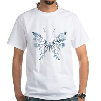 Blue Tribal Butterfly Tattoo White T-Shirt