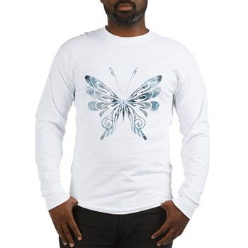 Blue Tribal Butterfly Tattoo Long Sleeve T-Shirt