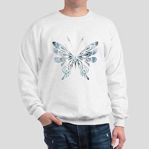 Blue Tribal Butterfly Tattoo Sweatshirt