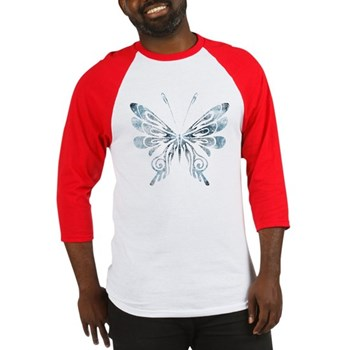 Blue Tribal Butterfly Tattoo Baseball Jersey