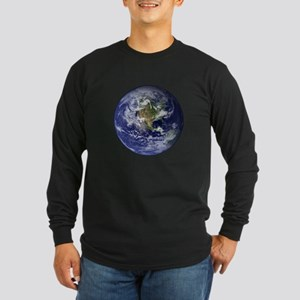 Western Earth from Space Long Sleeve Dark T-Shirt