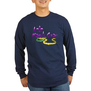 I Fleur-de-Lis Mardi Gras Long Sleeve Dark T-Shirt