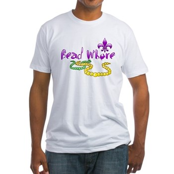 Mardi Gras Bead Whore Fitted T-Shirt